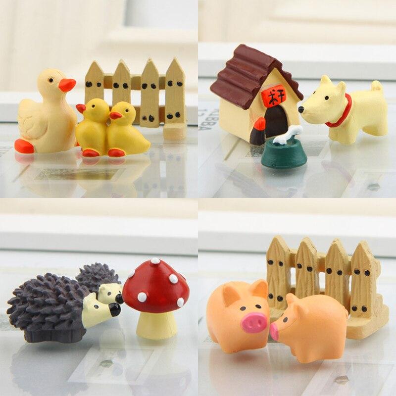 Plastic Piggy Puppy Duckling Hedgehog Figurines Gardening Potted Fish Tank Ornament Miniatures Decoration Crafts