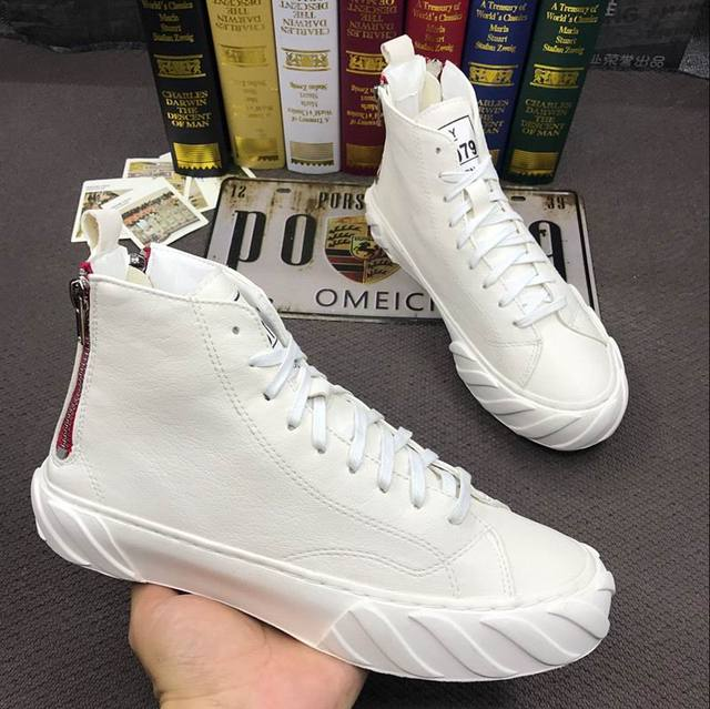 973b8eee6e29 ERRFC Hot Selling Men White Casual Shoes Fashion Round Toe Back Zip High  Top Flat Platform Leisure Shoes Man Black Ankle Boots