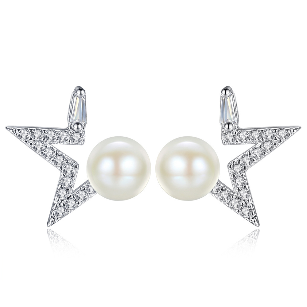 2018 Lucky Leaf Pearl Triangle Pentagram Stud Earring For Women Man Silver Color Lover's Engagement Jewelry Earring Shipping