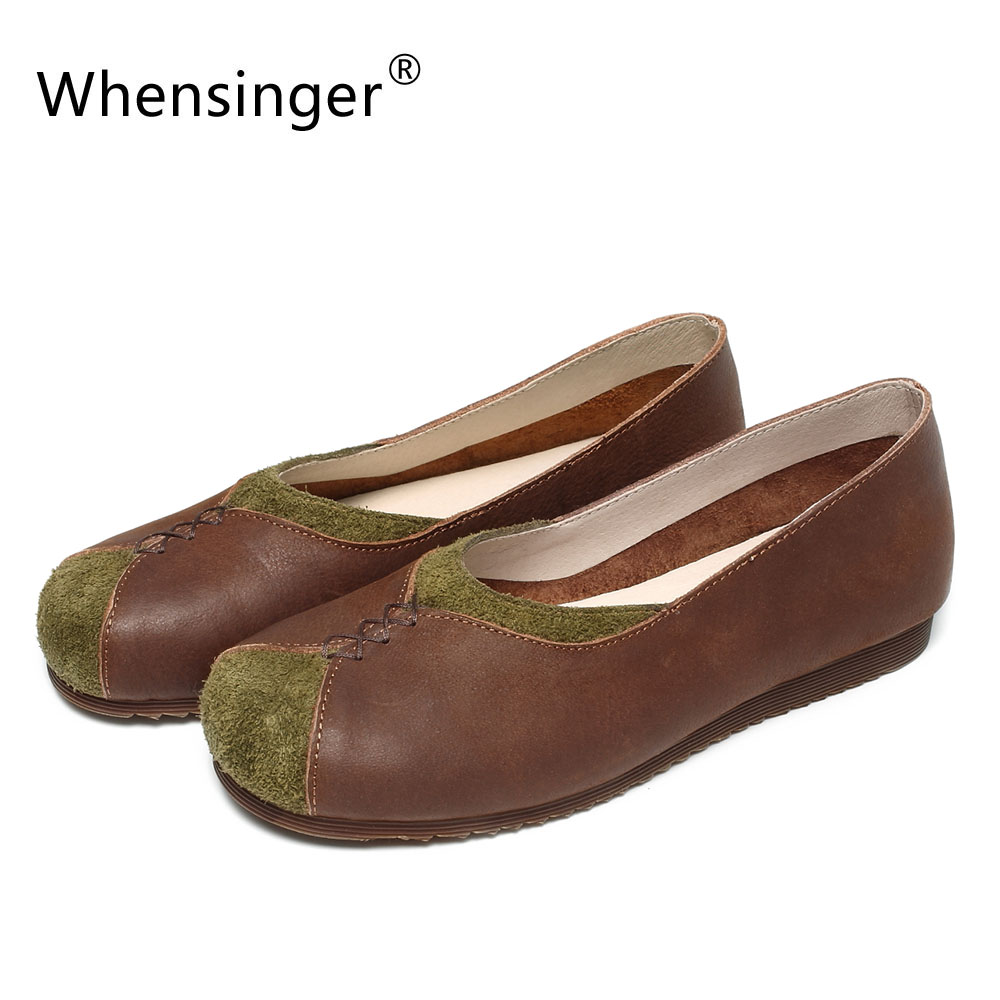 Whensinger - 2018 New Spring Women Shoes Genuine Leather Slip-On Flats Round Toe C552 new women flats shoes leather round toe shoe ladies fashion leather girl shoes slip on work footwear spring summer big size