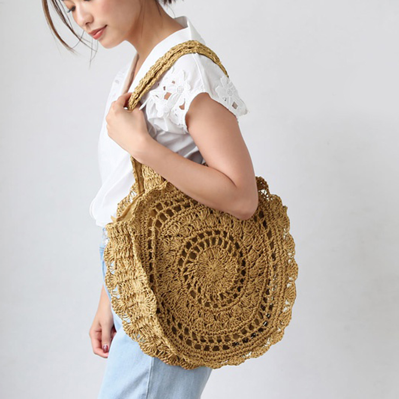 Bohemian Paper rope Straw Bags for Women Big Circle Beach Handbags Summer Vintage Rattan Bag Handmade Kintted Travel Bags rerekaxi new bohemian beach bag for women cute handmade straw bags summer grass handbags drawstring basket bag travel tote