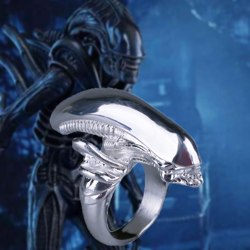 2018 Alien Covenant Ring Scary Monster Ring Cosplay Alien Ring Accessories Collectible Size 9 Halloween Party Props New