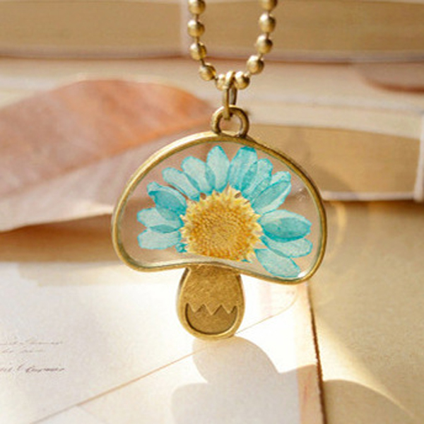 Online get cheap mushroom pendant resin aliexpress alibaba suspension collares beautiful vintage dried blue flower specimens pendants necklaces sweater chain mushroom shape women jewelry mozeypictures Images