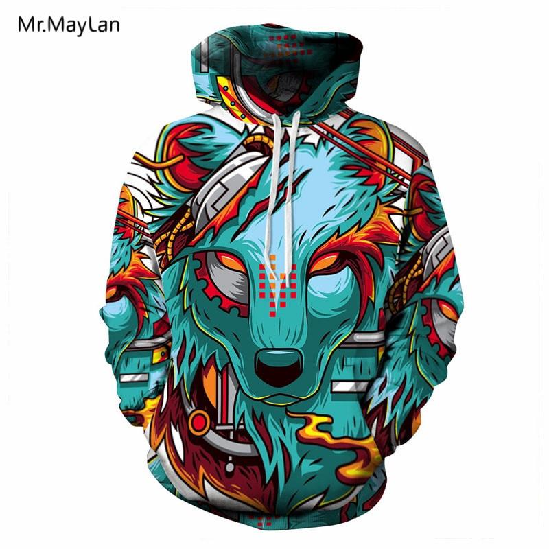 Hipster Wolf Head Print Print 3D Streetwear Hoodies - Տղամարդկանց հագուստ