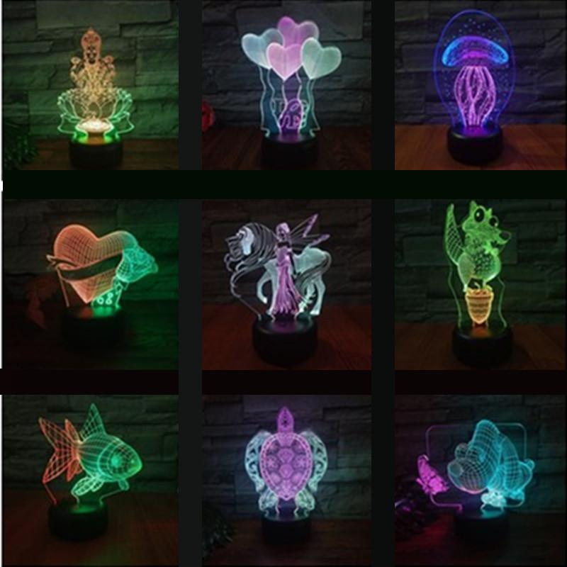 Turtle Dove Led 3d Nightlight Colorful Creative Visual Touch Charging Atmosphere Gift Lamp Party Decoration Letter Light