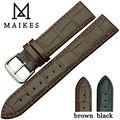 Maikes nova chegada macio genuíno relógio de couro correia de aço inoxidável fivela tafilete pulso faixa de relógio
