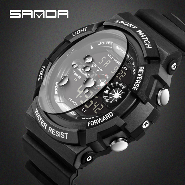 SANDA Lujo Marca Hombres Mujeres Deportes Relojes Relojes Casuales Relógio masculino Reloj Militar Digital LED Impermeable Al Aire Libre