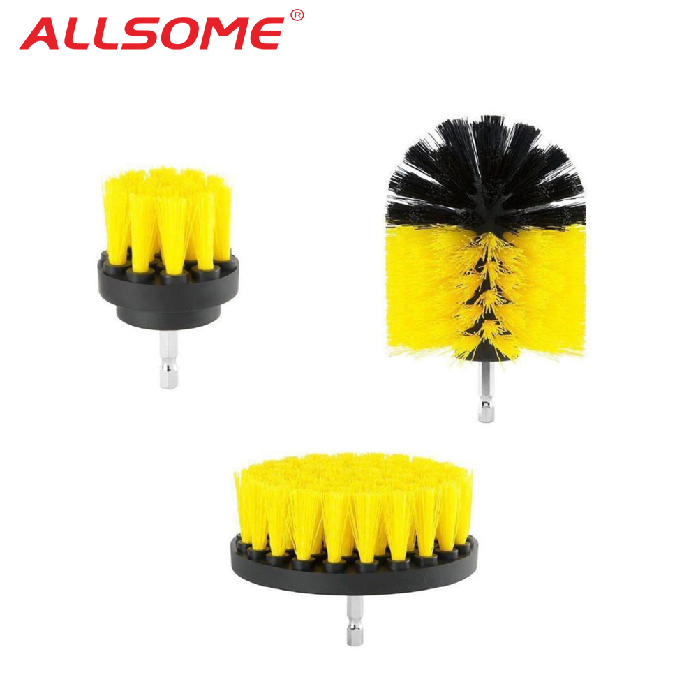 ALLSOME Electric Drill Brush Kit Tile Grout Scrubber Cleaning Drill Nylon Brushes Tub Cleaner Kit Wood Grinding Polishing Tool+
