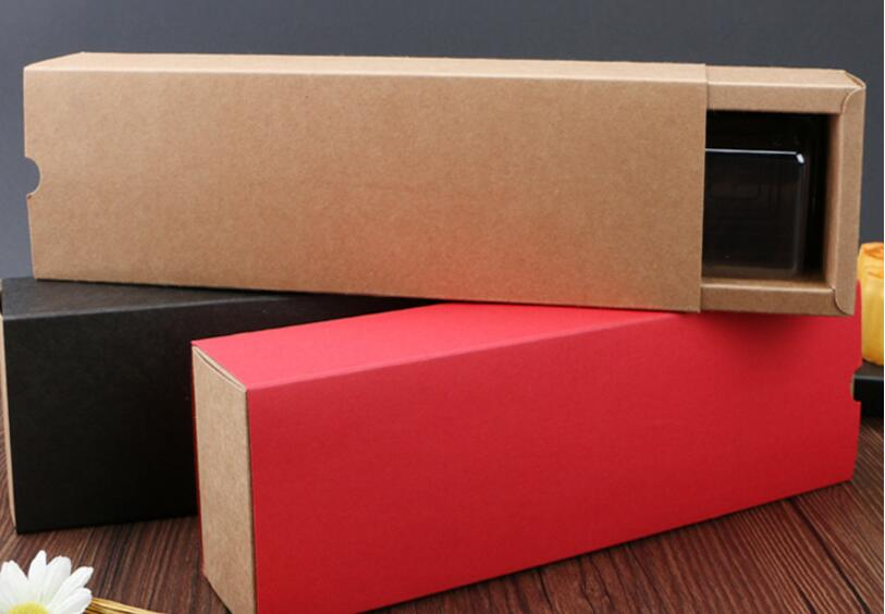 10pcs Long black/red craft kraft paper box gift packing cardboard muffin cake cookies Macaron candy packaging