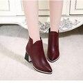 Мода осень 2015 острым носом сапоги женские толстые пятки с одним туфли на высоком каблуке ботильоны мартин сапоги из натуральной