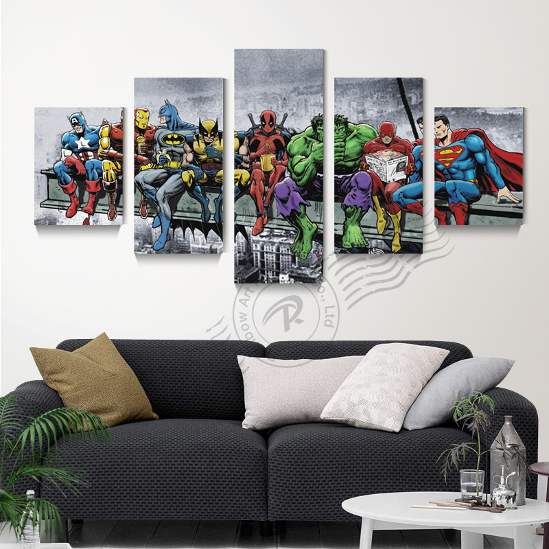 Aliexpress 5 Panel Bat Man Movie Poster Canvas Art Oil Painting Home Decor Modular Wall Picture For Living Room Print Unframd Br0135 From