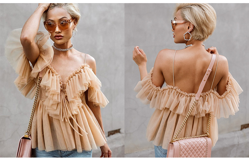 BeAvant Off shoulder womens tops and blouses summer 19 Backless sexy peplum top female Vintage ruffle mesh blouse shirt blusas 3