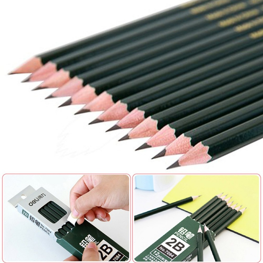 Deli ugreen 12pcs/Pack Stationery 2B Pencil Universal Practical Pencil For Drawing Writing Sketch Shading Artist School Supplies