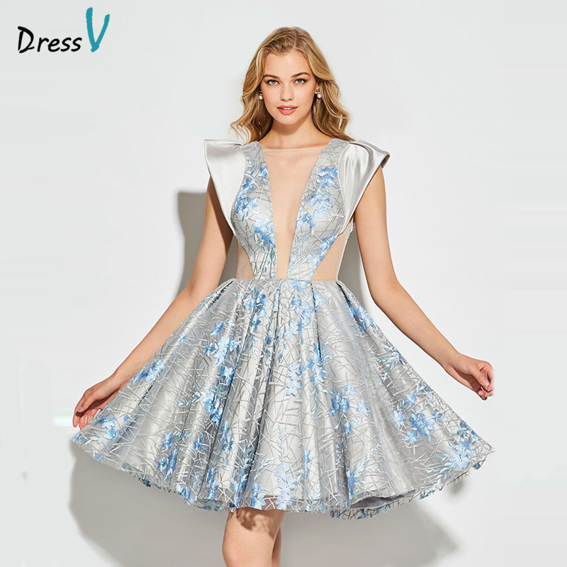 Dressv Silver Cocktail Dress Elegant Scoop Neck Backless Ball Gown Lace Wedding Party Formal Dress Cocktail Dresses Customade