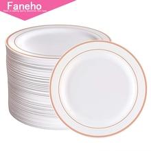 Rose Gold Plastic Plates 96 Pieces, Premium Heavyweight Dessert Plates 7.5