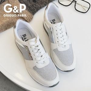 Image 3 - 春の新スニーカー女性プラットフォームカジュアルスポーツ靴の女性の厚い底ファッション靴レースブリンブリン工場直接販売