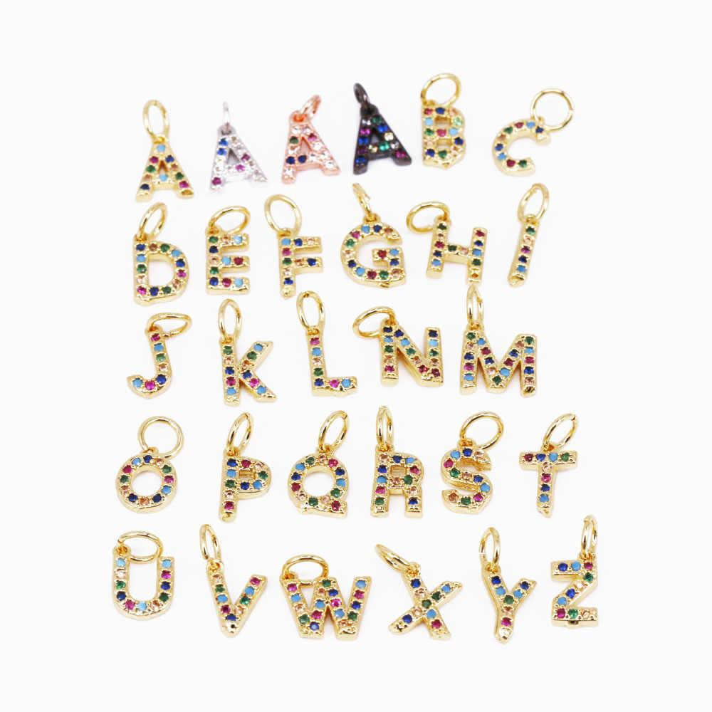 เริ่มต้นจี้ตัวอักษรขนาดเล็กตัวอักษร Charm เดิมสร้อยคอ Dainty ส่วนบุคคลจี้ผลการค้นหา 6x9 มม.