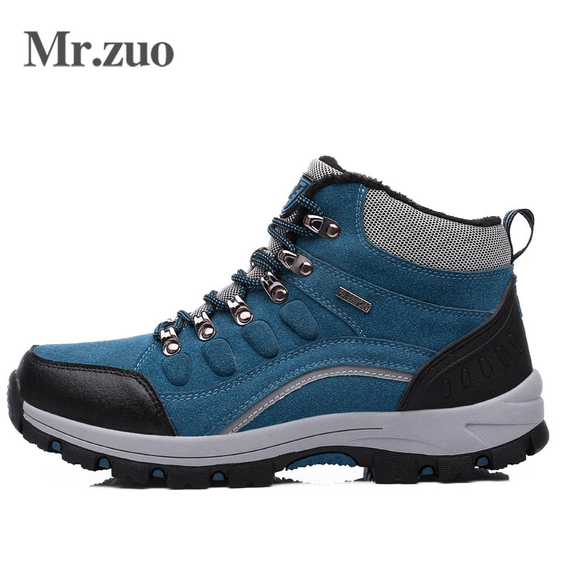 Brand Hiking Shoes Men 2017 Winter Sneakers PLUSH Climbing Shoes Waterproof  Sport Outdoor Men's Trekking Snow shoes Large Sizes brand sneakers women 2017 hiking shoes woman breathable climbing shoes outdoor sneakers waterproof trekking shoes large sizes