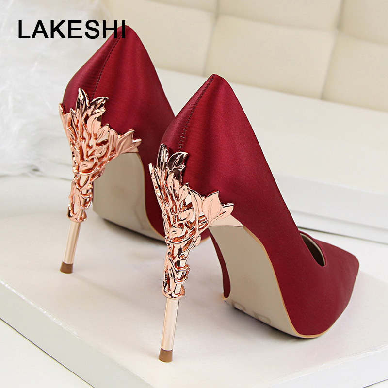 BIGTREE Metal Carved Heels Shoes Women Pumps Solid Elegant High Heels Fashion Wedding Shoes Famale Women Heel Shoes High 10cm