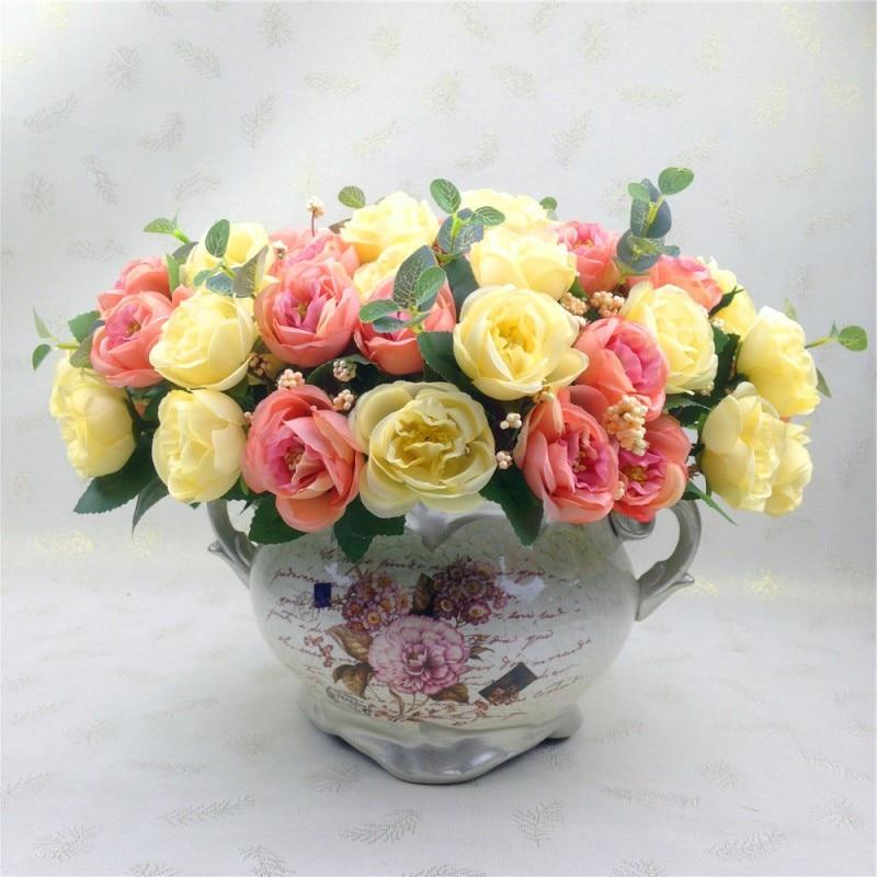 Hot Sale 10Pcs/set Wedding Decor Artificial Flower Camellia Hand Hold Silk Flower for Bridal Bridesmaid Home Decor