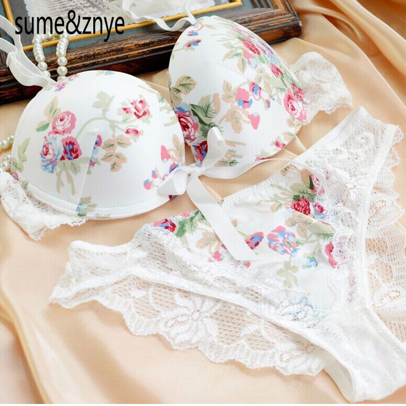 Women Lingerie 2014 New Top Underwear Gold Purple Silk Print Sexy Satin Lace Bra And Panty 36 38 B C Bra 5 Colors Free Shipping