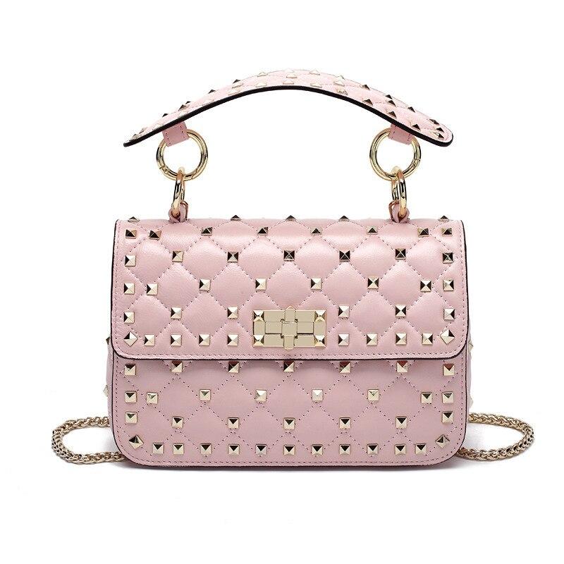 Kajie Genuine Leather Rivet Shoulder Bags For Women Fashion Sheepskin Female Chain Crossbody Bag Designer Clutch Totes Bolsas
