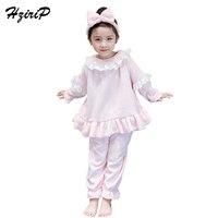 HziriP New Children Pajamas Sets Fashion Flannel Ruffles Long Sleeve Sleepwear 2PCS Sets High Quality Kids