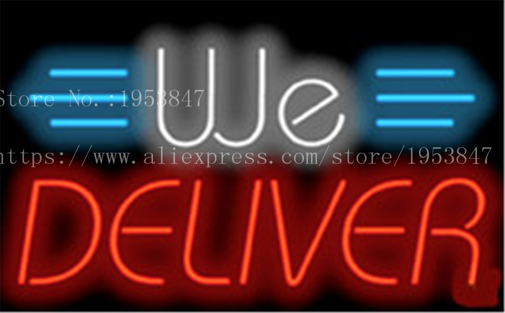 ac3dc7901a04 Aliexpress.com : Buy We Deliver Deli Neon sign Real Glass Tube Bulbs Light  Bar Beer Club Decoration Signboard drink Deli Shop Store 19