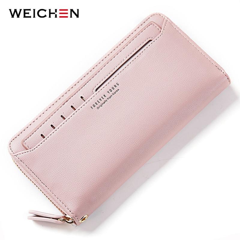 WEICHEN Zipper Clutch Wallets Phone-Pocket Many-Departments Coin-Purses Fashion Long
