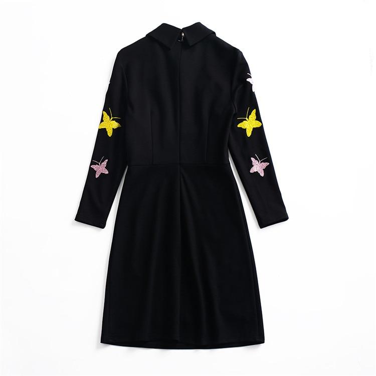 Pistes ul190 2018 Embroiderymulti Mince Automne Noir Luxe Printemps Papillon Robes Ol De xOZxHn