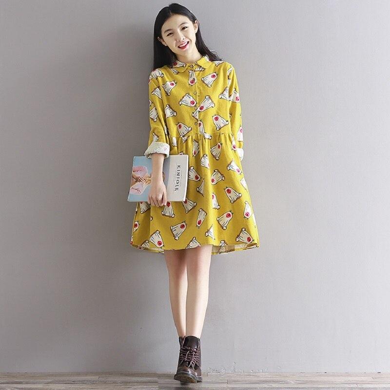 Femmes Coton Printemps Belle Automne Robe Mini Jaune 2018 Caractère xvWSn6n