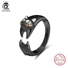 ORSA JEWELS Genuine 925 Sterling Silver Women Rings Lovely Cat Shape Animal Ring Adjustable White Enamel Silver Jewelry OSR93(China)