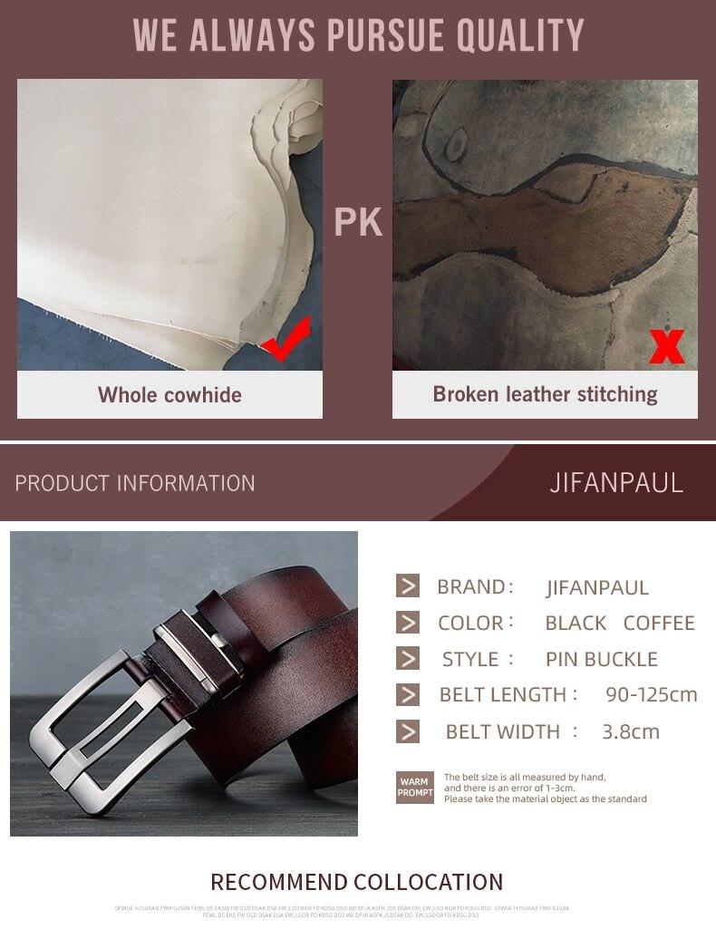 JIFANPAUL бренд подлинный мужской модный кожаный ремень сплав Материал Пряжка Бизнес Ретро Мужские джинсы дикие ремни высокого качества