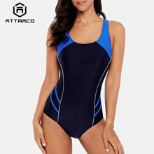 Attraco One Piece Women Sports Swimwear Swimsuit Patchwork Beachwear Bathing Suit Padded Bikini Monikini