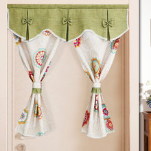 RZCortinas Short Curtains Flower Birds Printed Door Curtain with Window Valance Half Curtain for Coffee Kitchen Bathroom Drapes