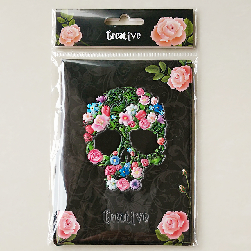 Vintage Rose Skeleton Passport Cover ID Credit Card Bag 3D Design PVC Leather Passport Holder 14*9.6CM