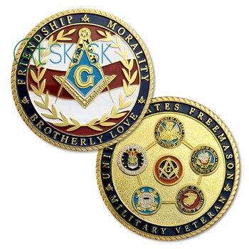 1 10 Stücke Freimaurer Gold Münzen Für Geschenk Brüderliche Liebe