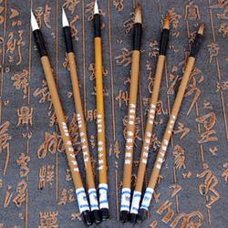 6 шт./компл. Традиционный китайский белые облака бамбук волка волос кисть для каллиграфии живопись практика кисточки для письма