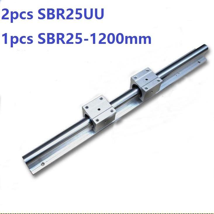 1 pièces SBR25-1200mm guide linéaire support rail + 2 pièces SBR25UU linéaire roulement blocs CNC routeur
