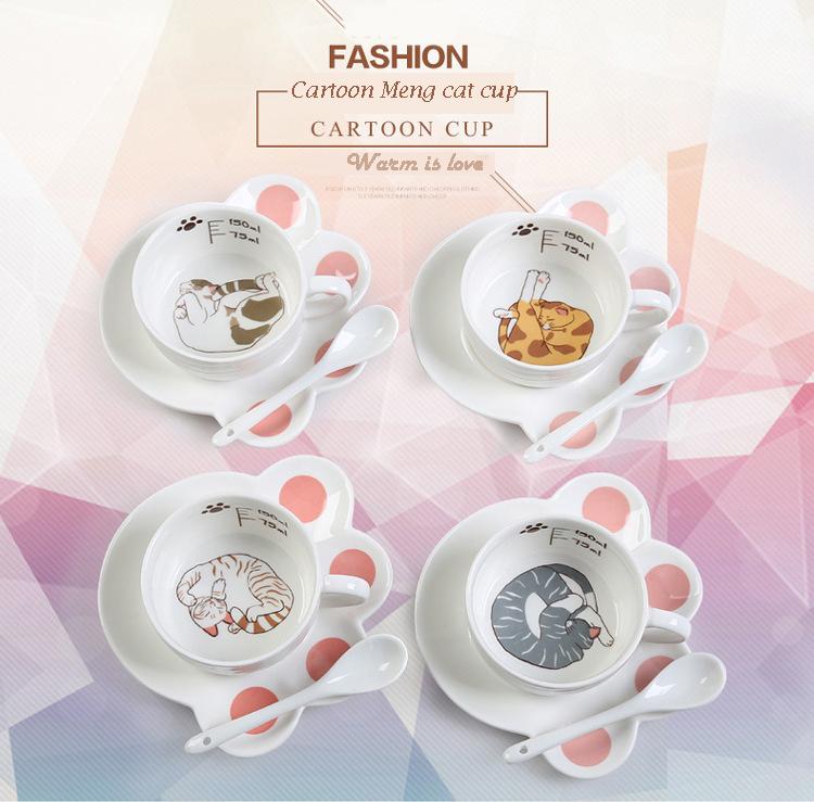 Cartoon Cute Cat Mug Cup Set Creative Milk Tea Drink Breakfast Ceramic Cups Plates Coffee Animal Cup Heat-resistant Lovely Gift (5)