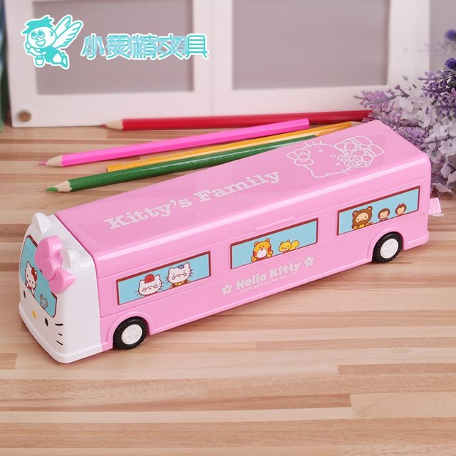 2pcs Lot Creative Cartoon Hello Kitty Student Bus Car Stationery Pencil Cases Multifunction Boxes Storage Box For Girls
