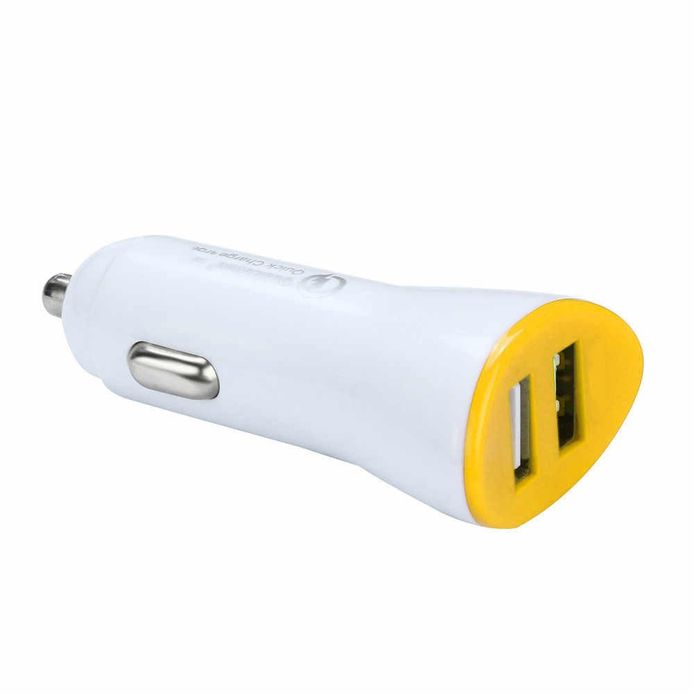 Fast charge 2.4A dual USB car charger 2 port 12 24V cigarette socket lighter Red black blue gray yellow