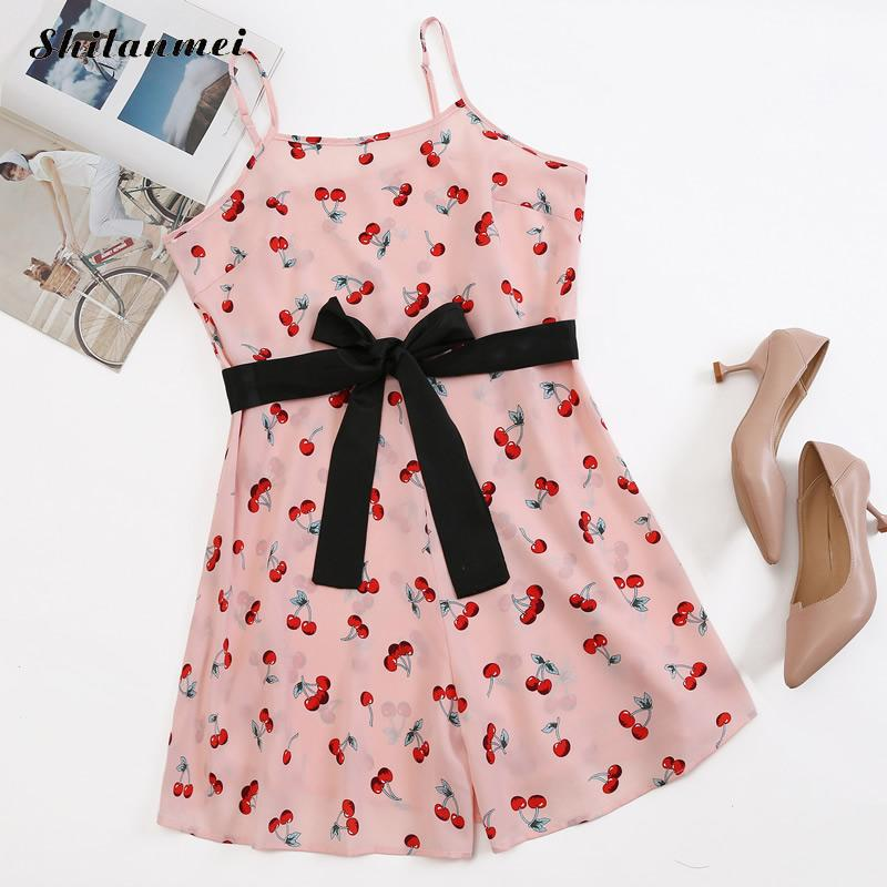 Lovely Pink Cherry Print Short Jumpsuits Women 2019 Summer Sexy Spaghetti Strap Sleeveless Bow Lace Up Party Beach Daily Rompers