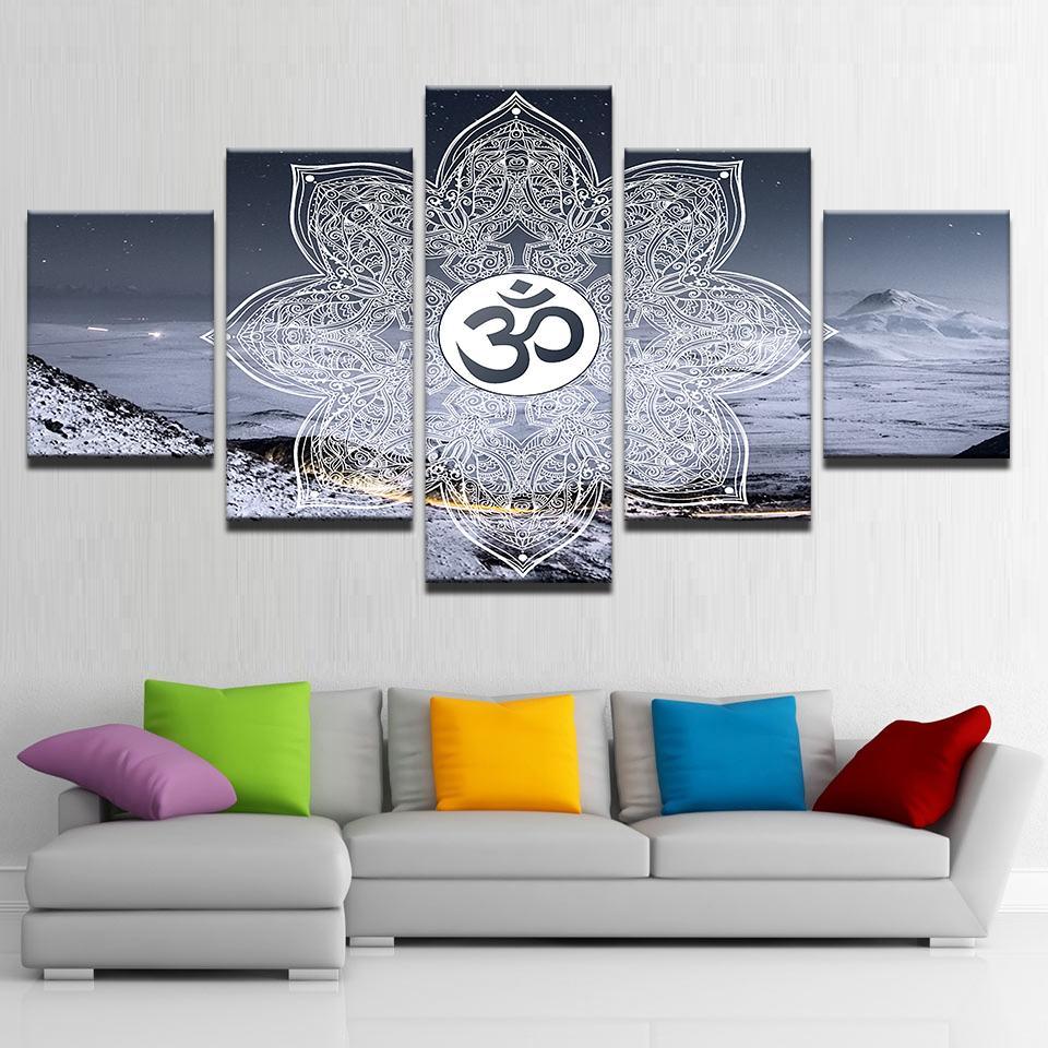 Framed 5 pcs HD Print Winter OM painting canvas wall art picture for ...
