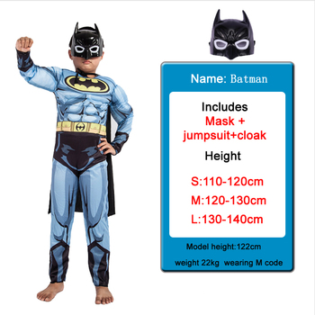 Kids Boys Muscle Batman Costumes With Mask Cloak Movie Character Superhero Cosplay Halloween Masquerade Evening Superman Role Pl 1