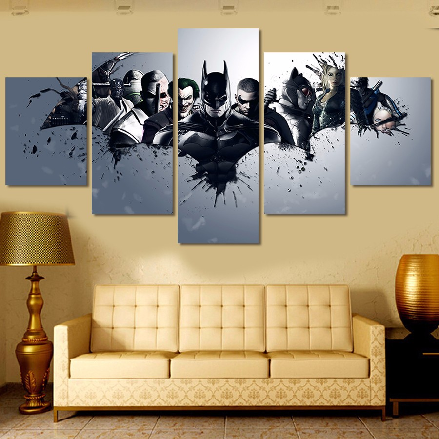 5 Pieces Oil Painting Batman Wall Art Home Decor Canvas Prints Movie ...