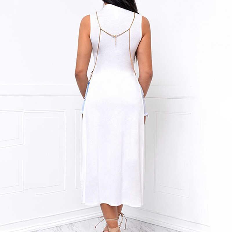 2018 sexy haute fente robe noir blanc sexy fête clubwear en mousseline de soie maille robe femme