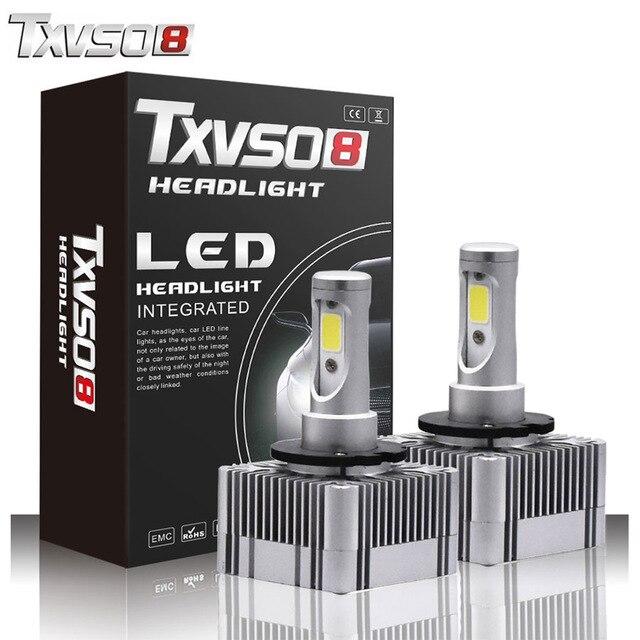 TXVSO8 2PCS led D1S/D3S Fog Light Bulbs Kits-Flip COB Chips-55W 26000LM pure White 6000K Auto H7 Led Headlight Bulb H4 headlamp