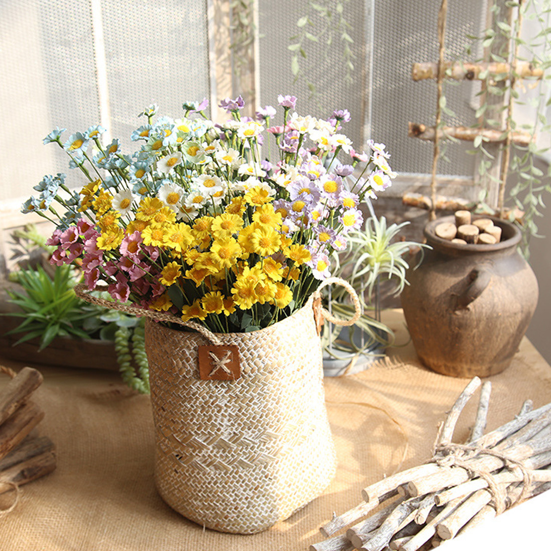 Garden Decoration 15 Heads Flower Daisies Fake Flower Bouquet