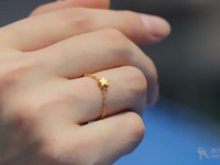 Hot sale PURE 999 24K Yellow Gold / Women's Lucky O Chain Star Ring / US 7
